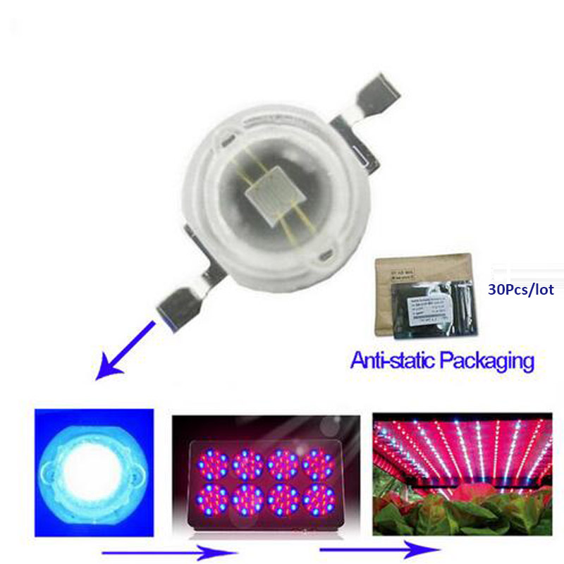 New 1W blue led grow chip full spectrum led diode 3.2-3.4v led plant grow light chip for indoor plant seeding grow and flower