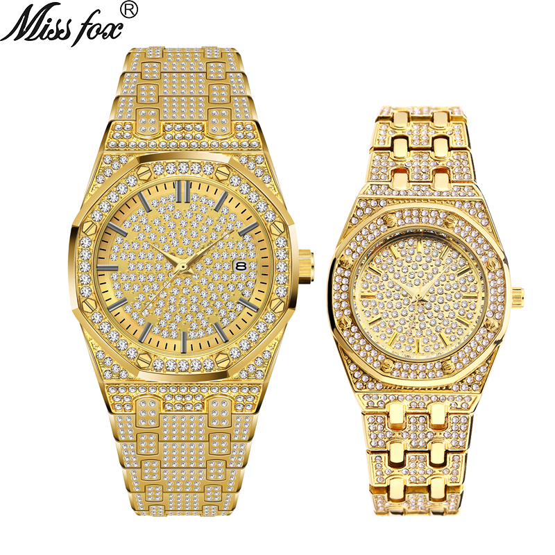 MISSFOX 18K Gold Iced Out Lab Dimaond Luxury Brand Stainless Steel Analog Quartz Waterproof Lover's Watch Set