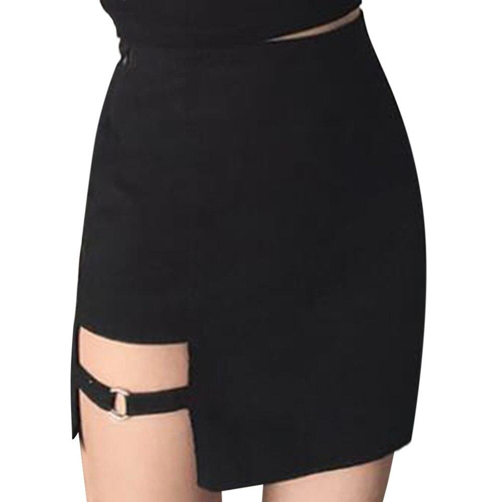 Women's Skirt Ladies Fashion Sexy Evening Party Female Skirt Solid Zipper Split Mini Ladies Skirts Faldas Mujer Moda 2019 #SL