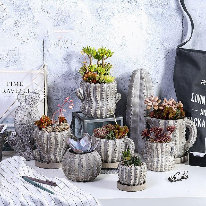 Succulent Plants Cement Lowerpot Mold Cactus Shape Silicone Molds For Concrete Pot