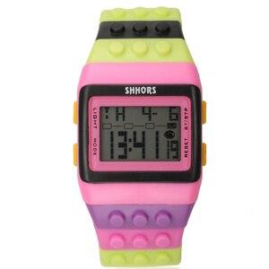 Image 4 - 2018 Shhors zegarek Rainbow klasyczne Unisex modne zegarki kolorowy pasek tanie cyfrowe światło led Drop shipping