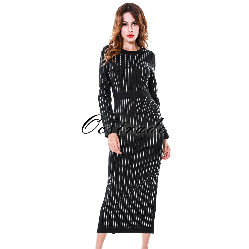 (OUT OF STOCK)Bodycon Dress 2017 New Fashion Beautiful Long Sleeve Womens Midi Dress for Night Club Party Wholesale HL