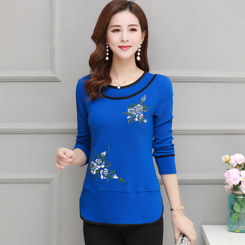 XL-4XL O-Neck Printed Long Sleeve T Shirt For Women Big Size Mother Clothes Casual Floral Tee Shirts Femme Spring Autumn Tops