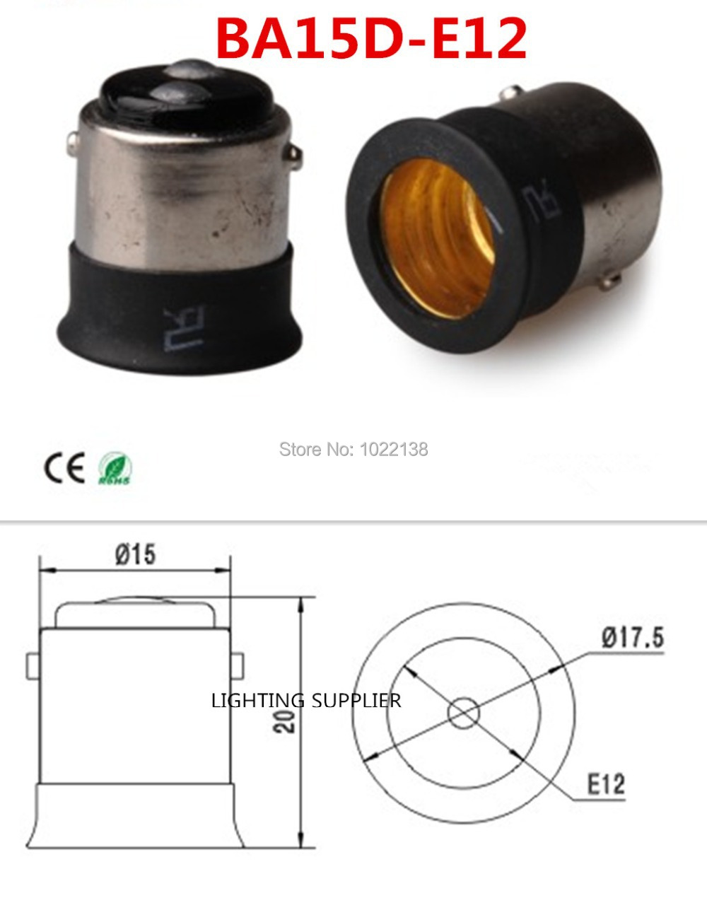 50pcs BA15D To E12 LED Socket Adapter BA15D-E12 Lamp Holder Adapter Coverter Bulb Base  Free Shipping With Tracking No.
