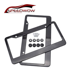 SPEEDWOW Frame Holder Tag-Cover License-Plate-Frame Carbon-Fiber Fit Standard 2pcs Vehicles