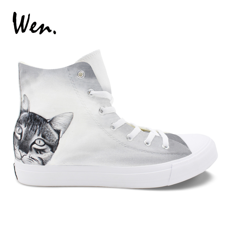 Wen Round Toe Flat Boy Canvas Hand Painted Sneakers Shorthair Cat Original Design High Top Grey Casual Vulcanize Shoes Girl grey sexy round neck raglan sleeves hollow design top