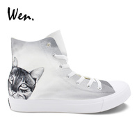 Wen Round Toe Flat Boy Canvas Hand Painted Sneakers Shorthair Cat Original Design High Top Grey Casual   Vulcanize     Shoes   Girl
