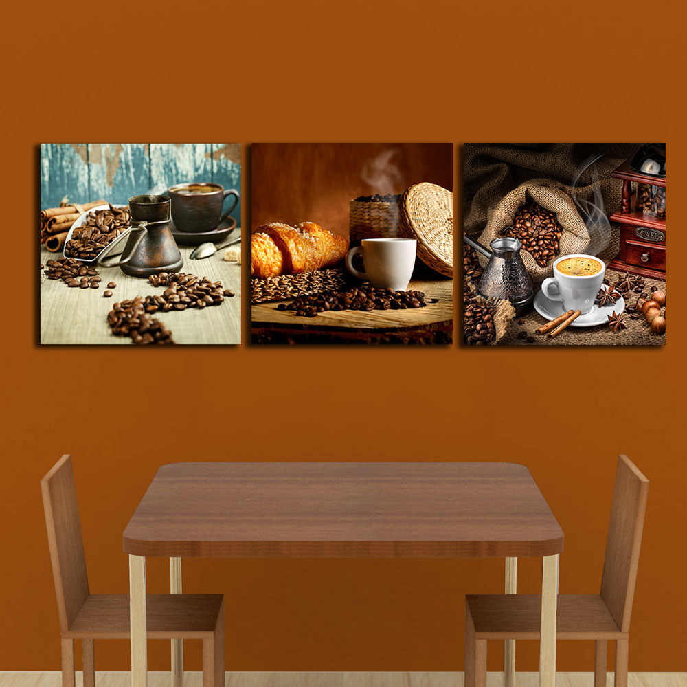 3 PCS Coffee Beans Cinnamon Paintings For The Kitchen Wall