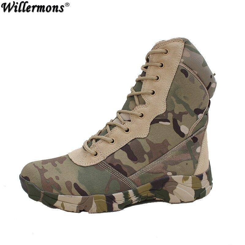 Al aire libre del camuflaje de los hombres High Top fuerza especial del ejército combate Botas hombres invierno Militar táctico Seguridad Botas Zapatos botas