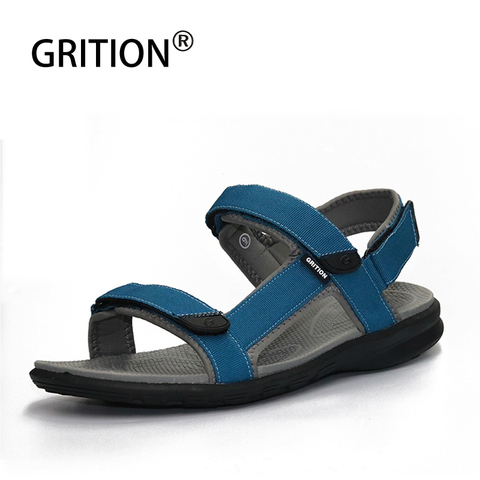GRITION Outdoor Sandals For Men Outdoor Leather Hiking Sandals Summer Flat Beach Shoes Lightweight Quick-drying Walking Shoes Pakistan
