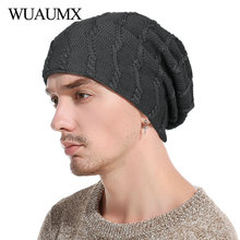 e1628936fdf Wuaumx Casual Winter Beanies Hats For Men Warm Lining With Velvet Solid  Color Knitted Cap For