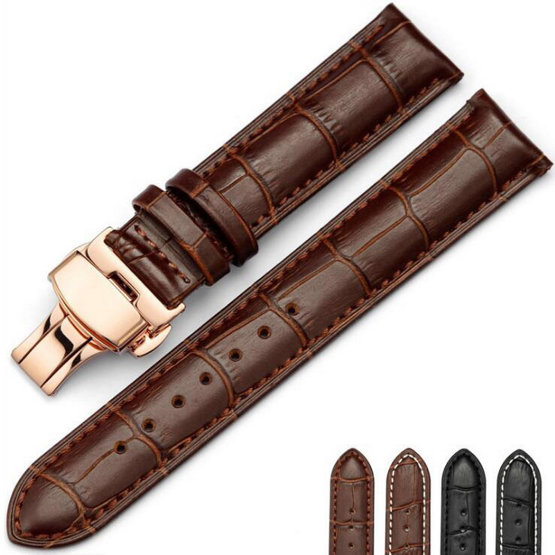 Leather Watch Band Wrist Strap 16mm 18mm 20mm 22mm 24mm Rose Gold Butterfly Clasp Buckle Replacement Bracelet Belt Black Brown 18mm 20mm 22mm ceramic watch band for citizen butterfly buckle wactchband replacement strap wrist belt bracelet black gold white