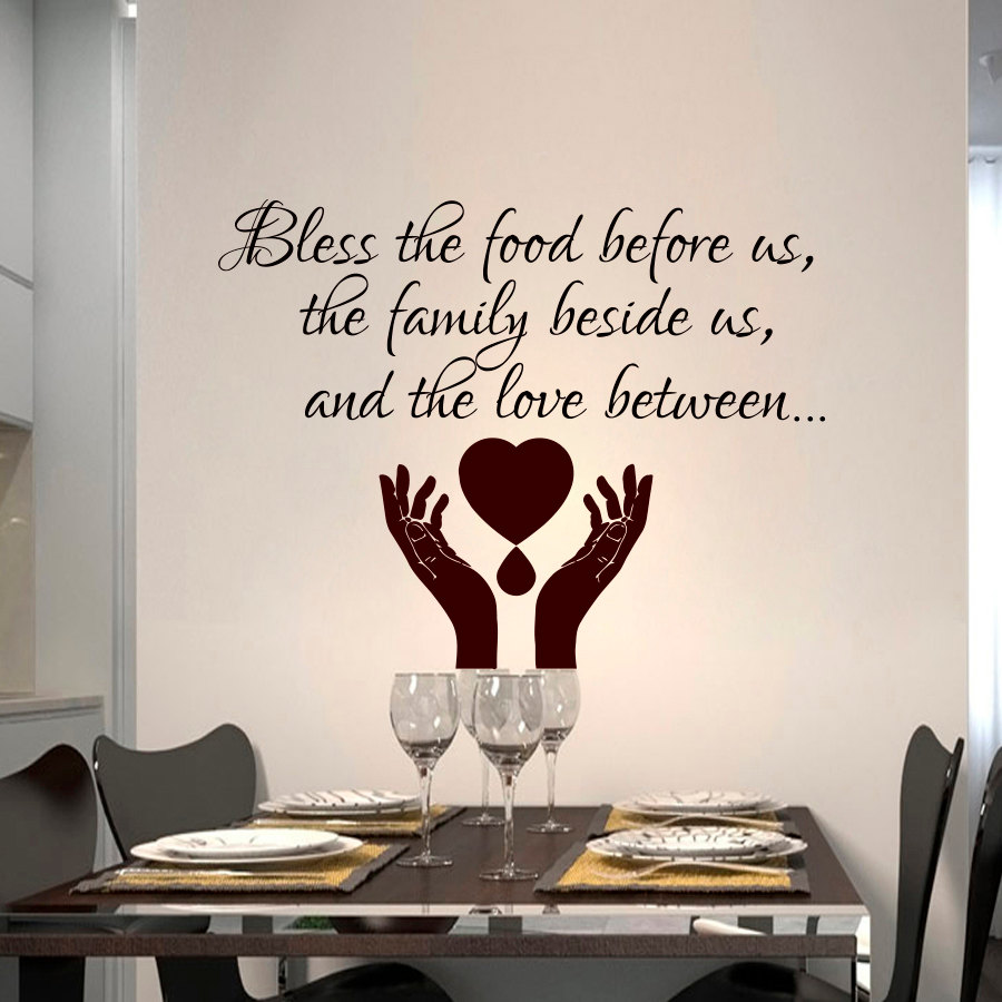 Zooyoo Bless The Food Before Us Dining Room Wall Sticker Hands Pray Vinyl Art Home Decor Self Adhesive Decals
