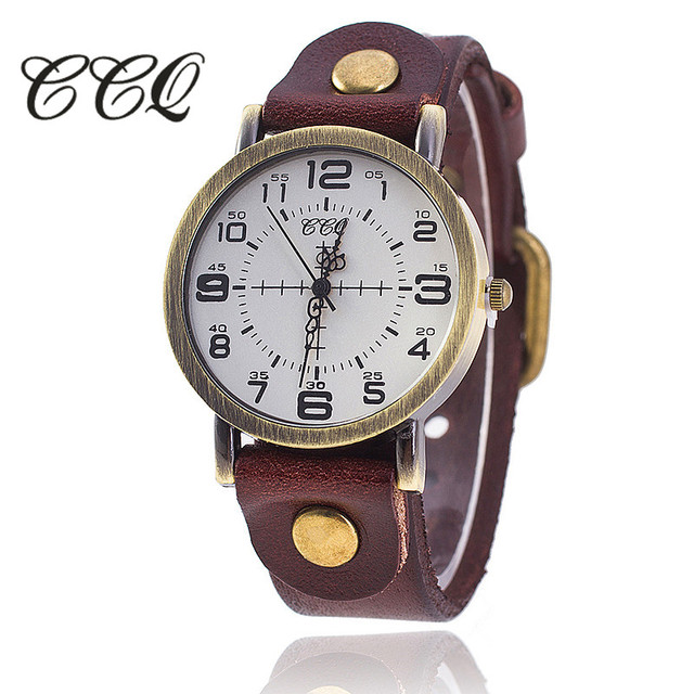CCQ Vintage Cow Leather Bracelet Watch Women Wrist Watch Casual Luxury Quartz Wa