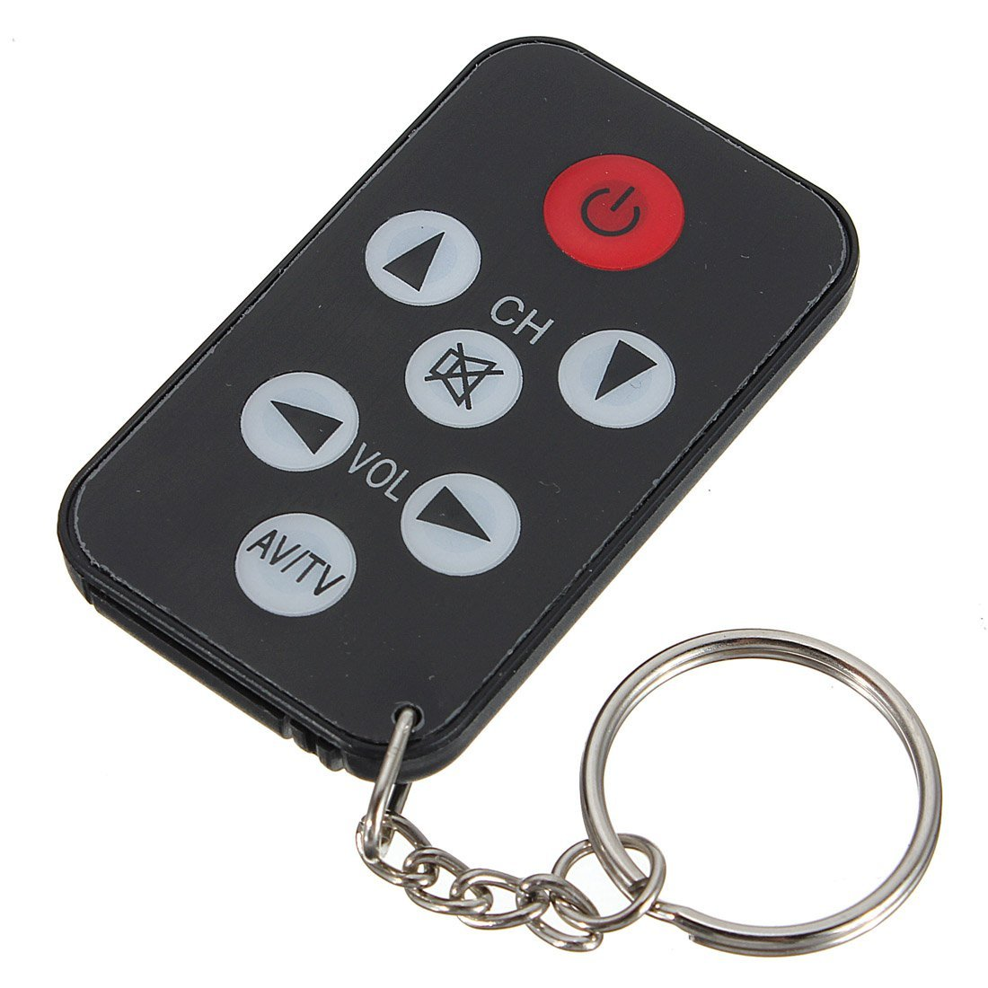 CES-Mini Universal IR TV Remote Control 7 Keys with Keychain Black