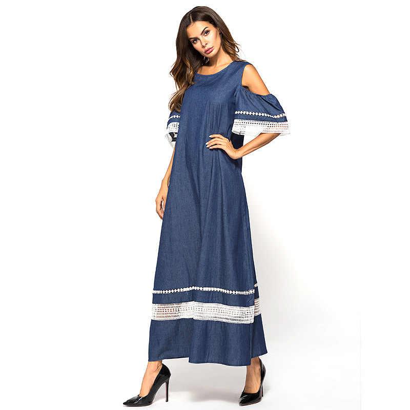 Новый женский платье выдалбливают сплайсинга длинное платье без бретелек женские большие размеры платья свободные Повседневное деним летняя одежда