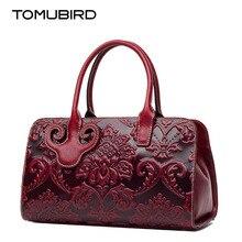 TOMUBIRD 2017 new superior cowhide Genuine leather Designer Embossed Flower Ladies Handmade Leather Tote Satchel Handbags