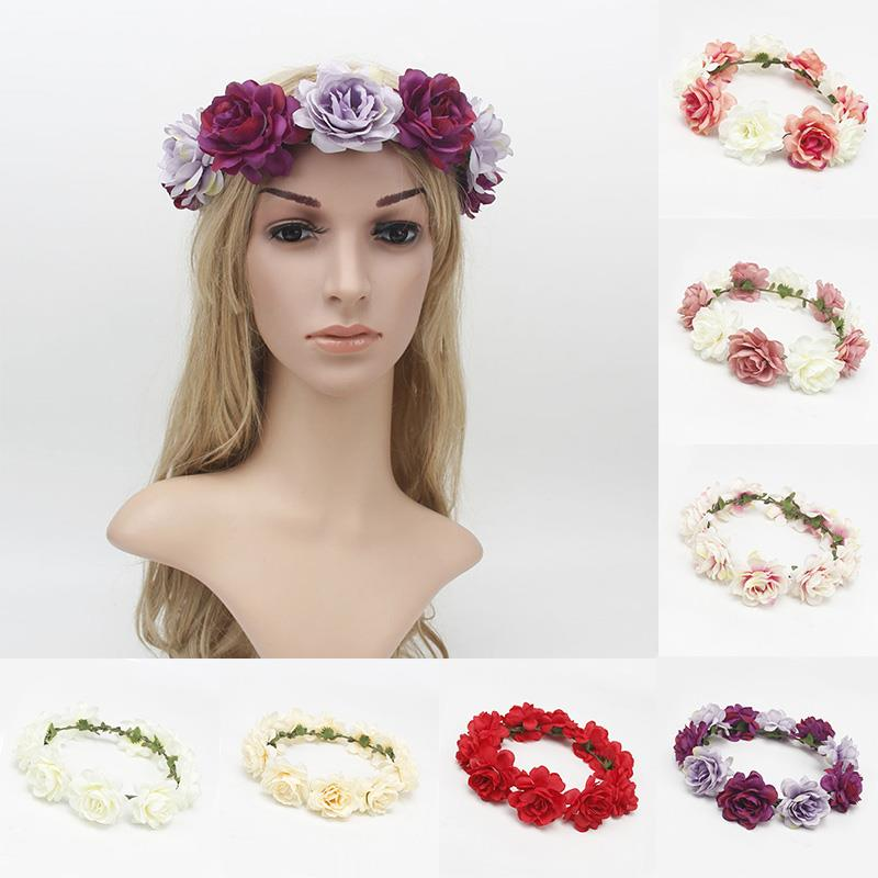 Fashion Multicolor Bridal Wedding Wreath Head Flowers Wrist Flower Corsage Headwear Hair Accessories