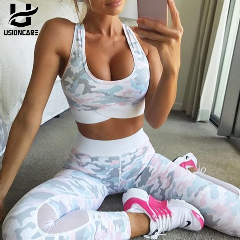 USKINCARE Women Yoga set Sport Suit Camouflage printing Training top pants Outdoor Sportswear fitness Running Clothes camouflage print v neck training suit tank top shorts for men