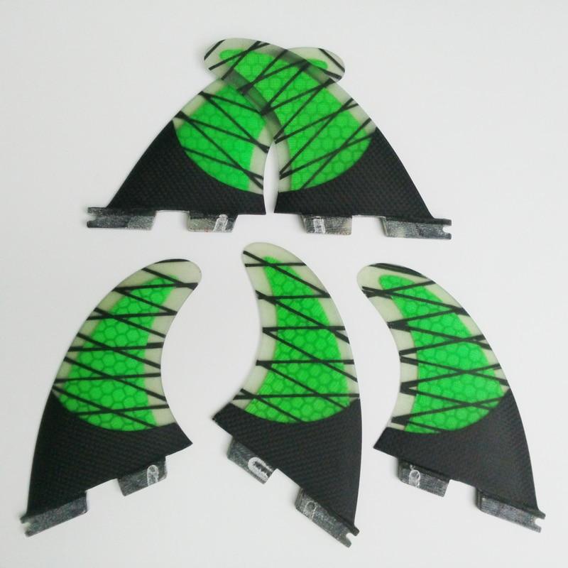 Surf Ailettes fcs ii K2.1 Quilhas vert Honeycomb Fins en fiber de carbone un ensemble de cinq Surf FCS2 Ailettes Surf