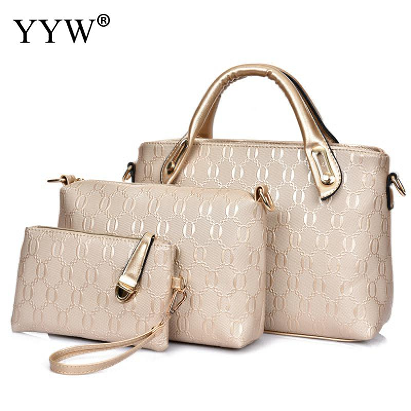 3 PCS/Set Gold PU Leather Handbags Women Bag Set Famous Brands Tote Bag Lady's Shoulder Crossbody Bags Clutch Bag Women's Pouch