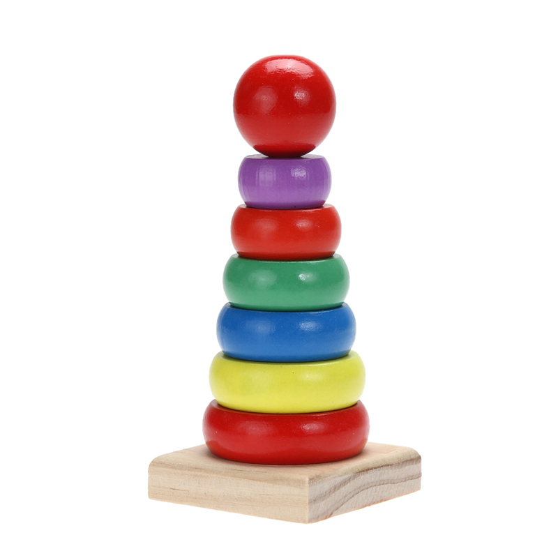 Toys For 4 And Up : New design wooden stacking ring tower rainbow stack up