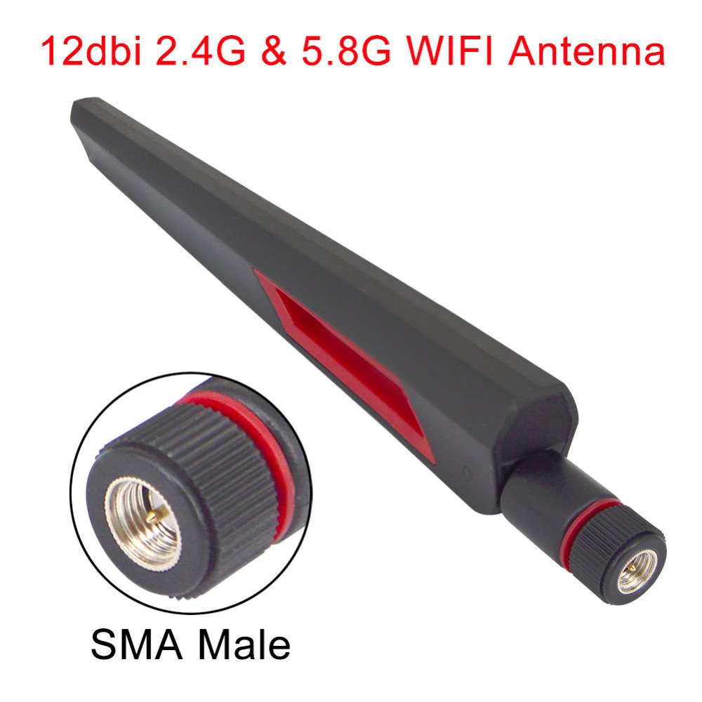12 Dbi Dual Band WIFI Antenna 2.4G 5G 5.8Gh SMA Male Universal Antennas Amplifier WLAN Router Antenne Booster