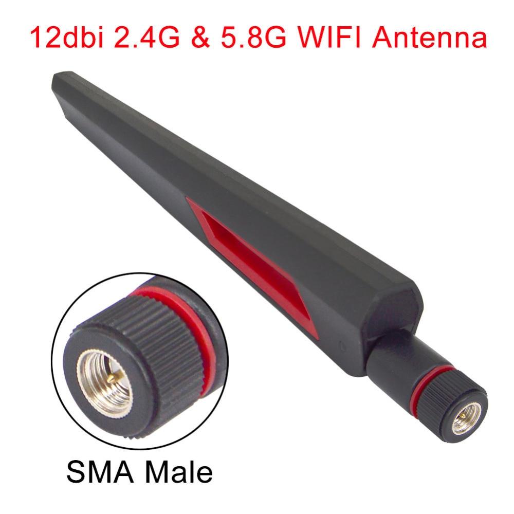 12 Dbi Dual Band WIFI Antenna 2.4G 5G 5.8Gh SMA Male Universal Antennas Amplifier WLAN Router Antenne Booster