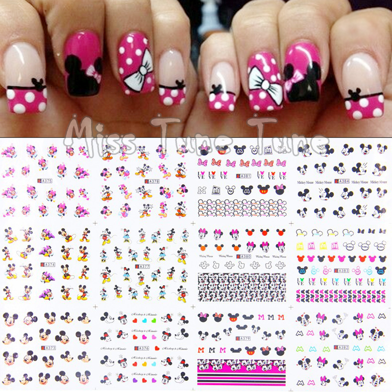 1pcs 12 Sheets/Lot Large Nail Art Water Transfer Water Decal Stickers Tips Mickey Minnie Head Pink Cute Cartoon Nail Sticker