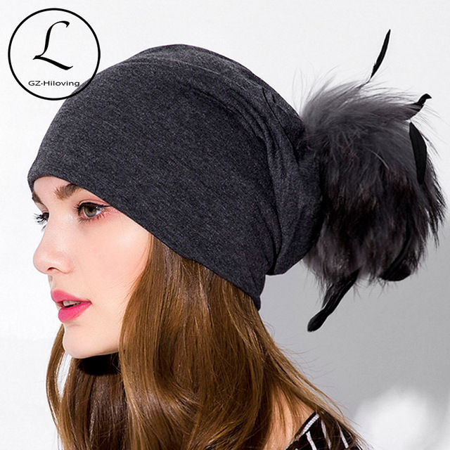 0150185c9a712a Real Fur Pom Pom Hat women Autumn Winter cotton solid Beanies Fur Ball Cap  Ladies Natural Raccoon Fur Pompom Hat with Feather
