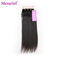 Mesariel Brazilian Straight Lace Closure Free Shipping Non-Remy Hair Natural Black Color 4×4 Three Part Closure