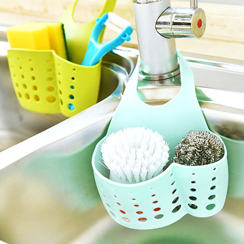 LASPERAL Adjustable Snap Sink Sponge Storage Rack Hanging Basket Bathroom Accessory Kitchen Organizer Hanging Storage Holder(China)