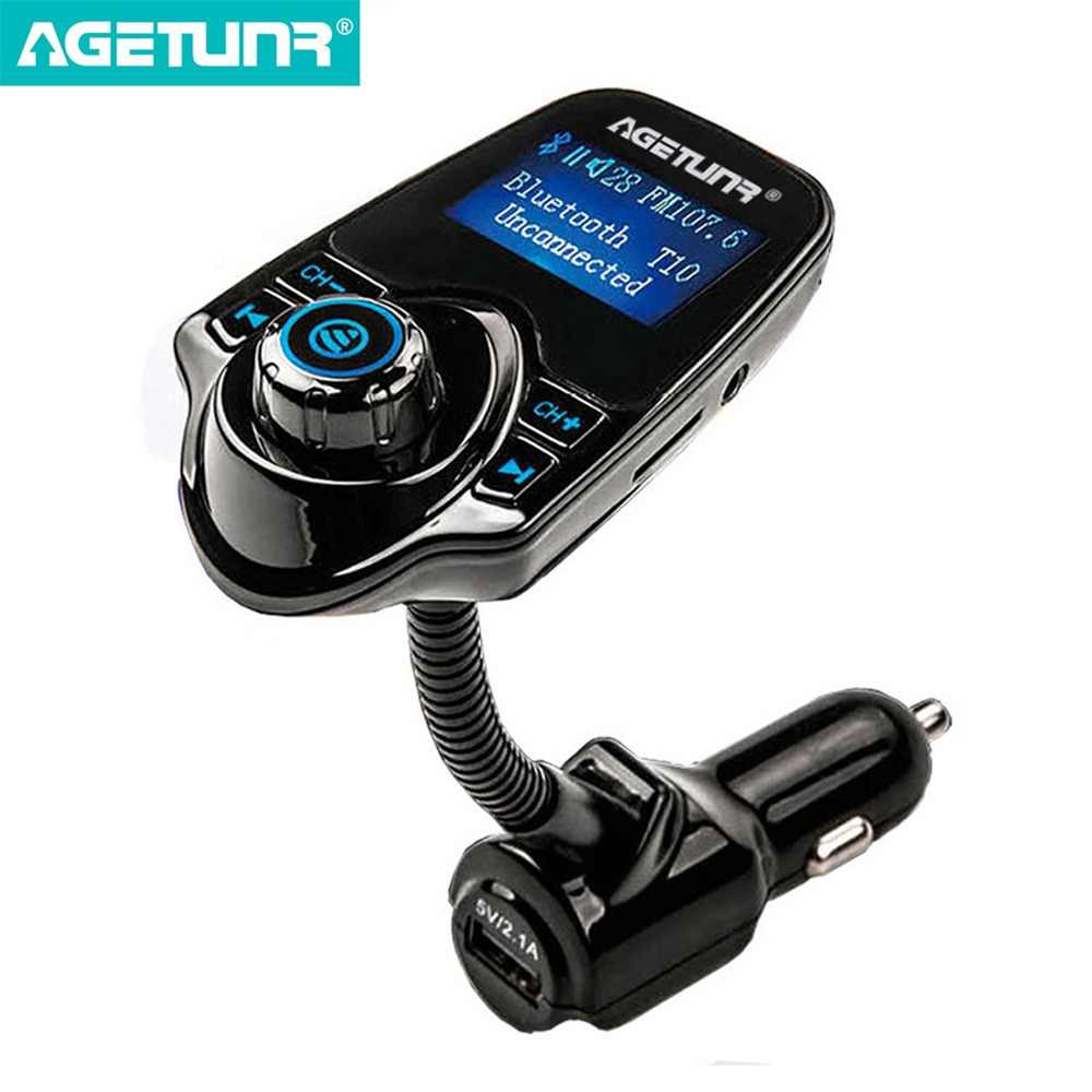 AGETUNR Bluetooth Car Kit Handsfree Set FM Transmitter MP3 Music Player 5V 2.1A USB Car Charger Support Micro SD Card 4G-32G