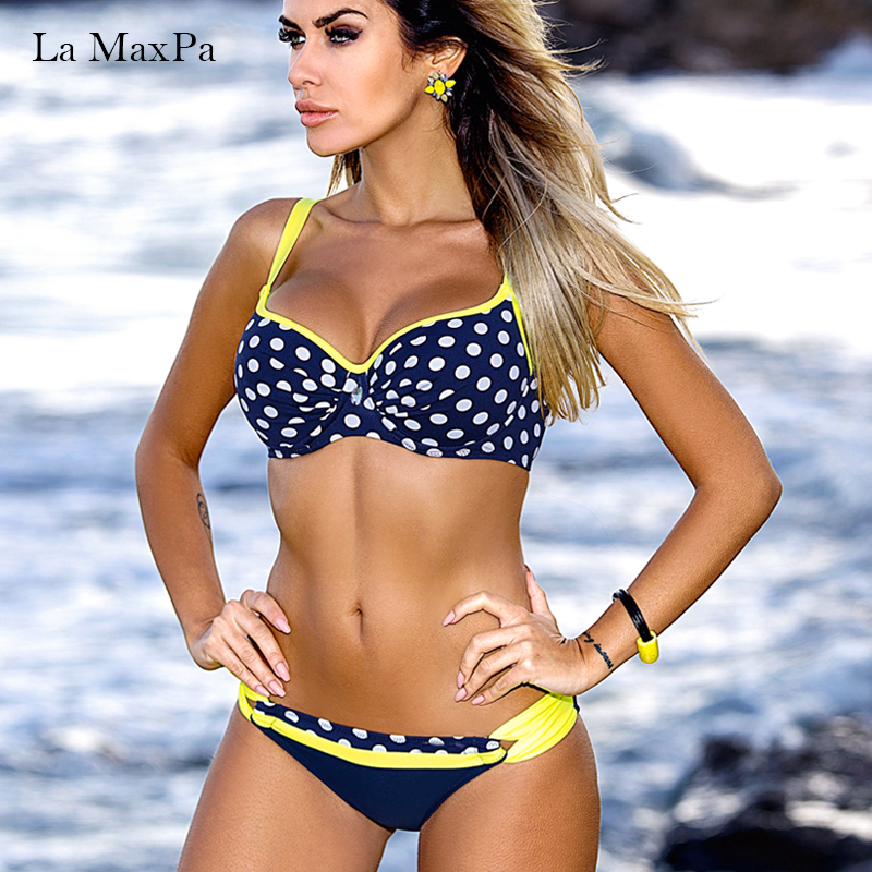 La MaxPa Bikini Swimwear Women 2018 Summer Sexy Bikini Set Push Up Swimsuit Female Red Blue Two Piece Low Waist Bikini Bottom XL 3