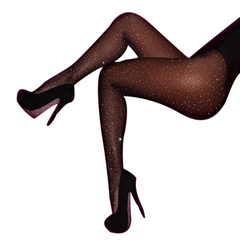2018 New Sexy Women Pantyhose Shiny Fishnet Stocking High Quality Hollow Mesh Diamonds plaid Tights Sparkle Rhinestone Stockings