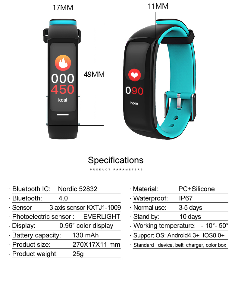 Torntisc Smart band P1 PLUS Color display Fitness Bracelet Heart rate tracker Blood Pressure Monitor Smart Wristband IP67 Waterpoof (11)