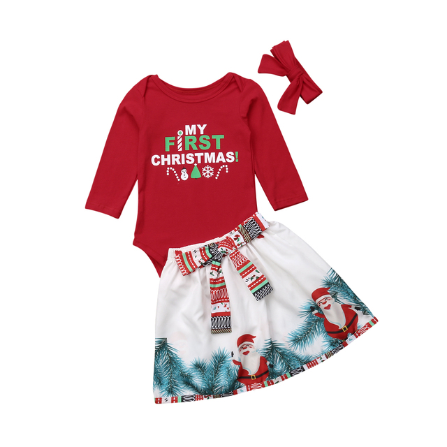 23e7d574ec2fb New Xmas Newborn Baby Girl Clothes Set Toddler Infant Christmas Long Sleeve  Romper Tops Santa Pattern