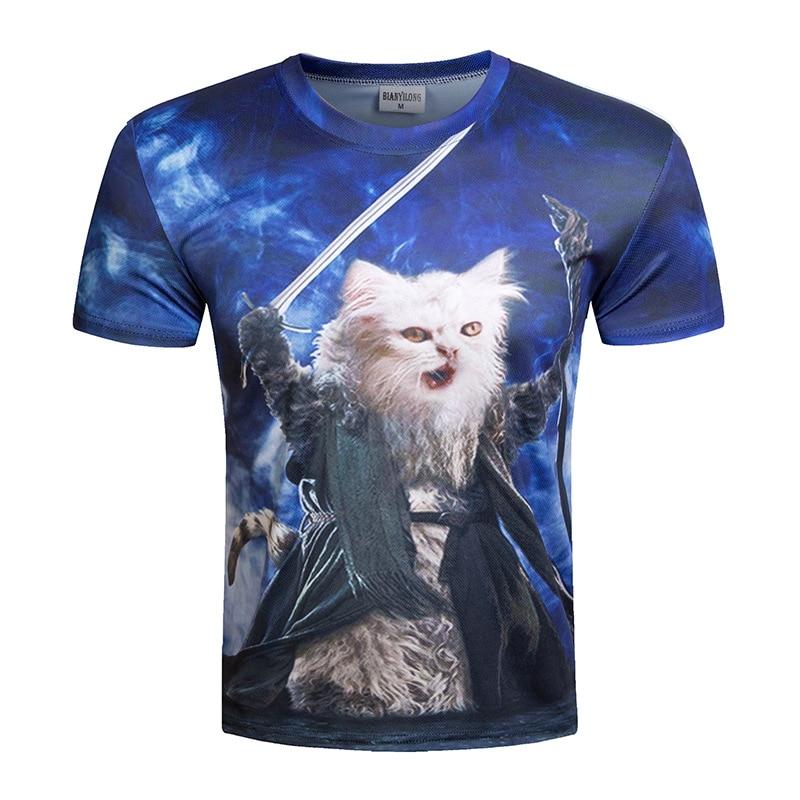 New men's wear casual short-sleeved T-shirt 3D digital magic cat star cat printed short sleeve T-shirt summer