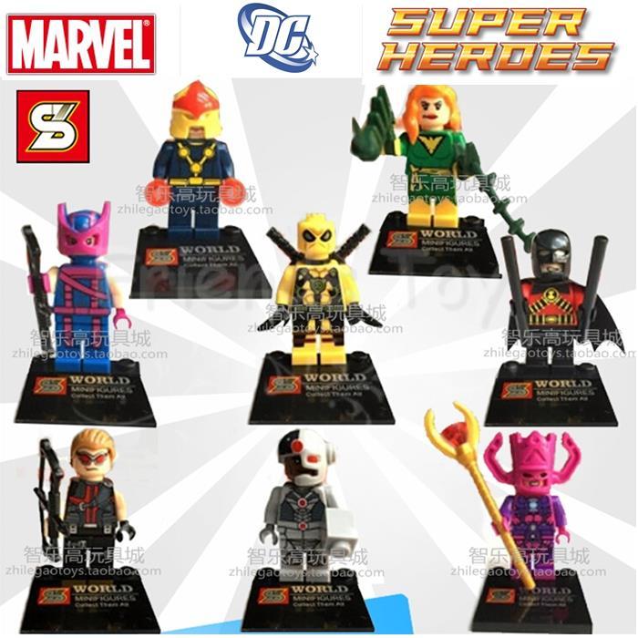 8 stücke super heroes spielzeug abbildung cyborg nova jean grau deadpool hawkeye...