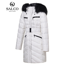 SALCO Free shipping 2016 Hot Women raccoon fur collar and long sections Ms. hooded down jacket