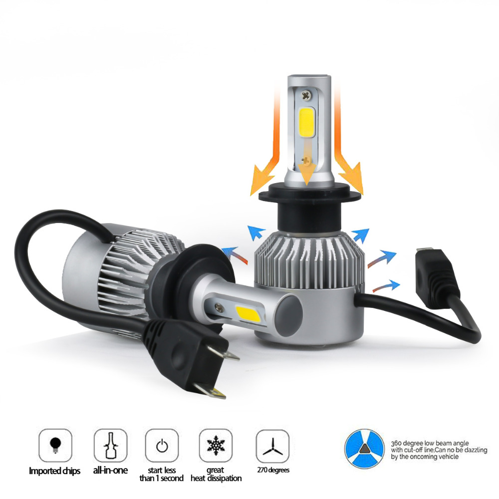 Car Head light S2 6000K H4 H7 H1 COB LED Headlight Bulbs H11 12V 9005 H3 72W 8000LM Car LED lamp Fog Light 9005 9006