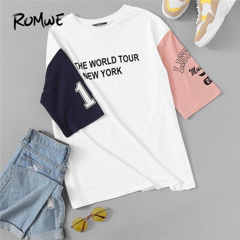 ROMWE O Neck Half Sleeve Leisure Colorblock Woman Hip Hop White T Shirt 2019 Letter Print Drop Shoulder Boylish Summer Tshirts