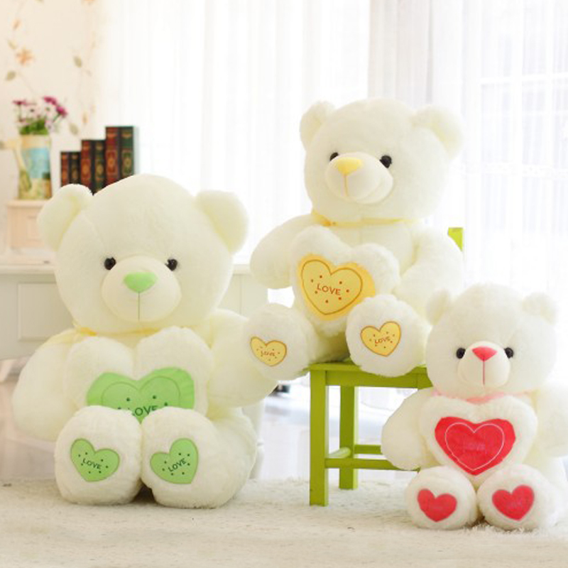 1pcs 60cm Stuffed Plush Toy Holding LOVE Heart Big Plush Teddy Bear 3 colors Soft Gift for Valentine Day Birthday Girl's gift  new 1pc 60cm stuffed plush toy holding love heart big plush teddy bear 2 colors soft gift valentine day birthday girl s gift