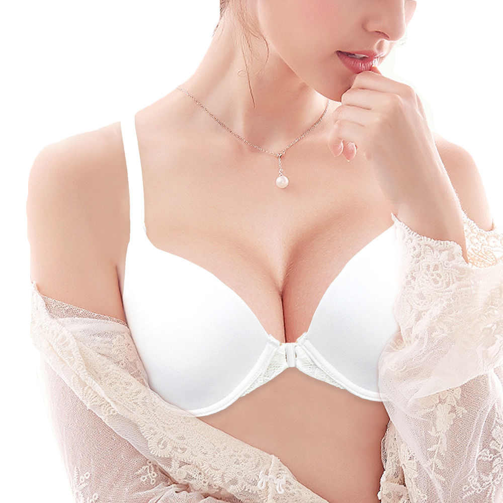 YANDW Bra Women Front Closure Thin Lace Back Y-line Underwire White Sexy Lingerie Size 32 34 36 38 40 42 44 A B C D DD Cups