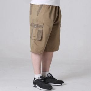 Image 3 - summer mens safari style cargo Shorts pocket cotton plus size 6XL 7XL 8XL man casual Elasticated waist shorts Stretch khaki 46
