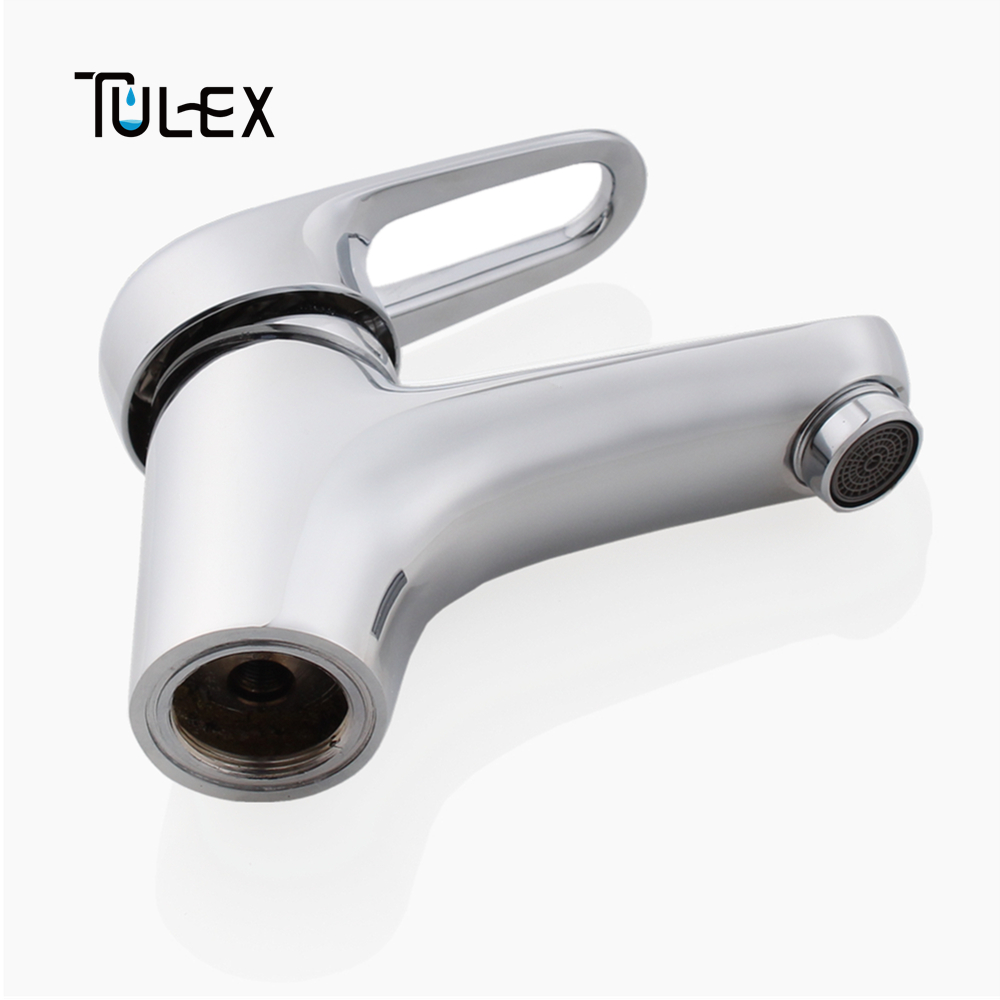 TULEX Bathroom Faucet Basin Mixer Brass Body Polished Chrome Hot & Cold Water Mixer Crane for Bathroom tulex bathroom basin mixer chrome crane black brass wall mounted basin faucet single handle mixer tap hot and cold water