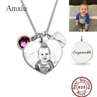 Amxiu Custom Baby Photo Necklace 925 Sterling Silver Necklace Engrave Name with Birthstone Heart Pendant Necklace For Mom Gift