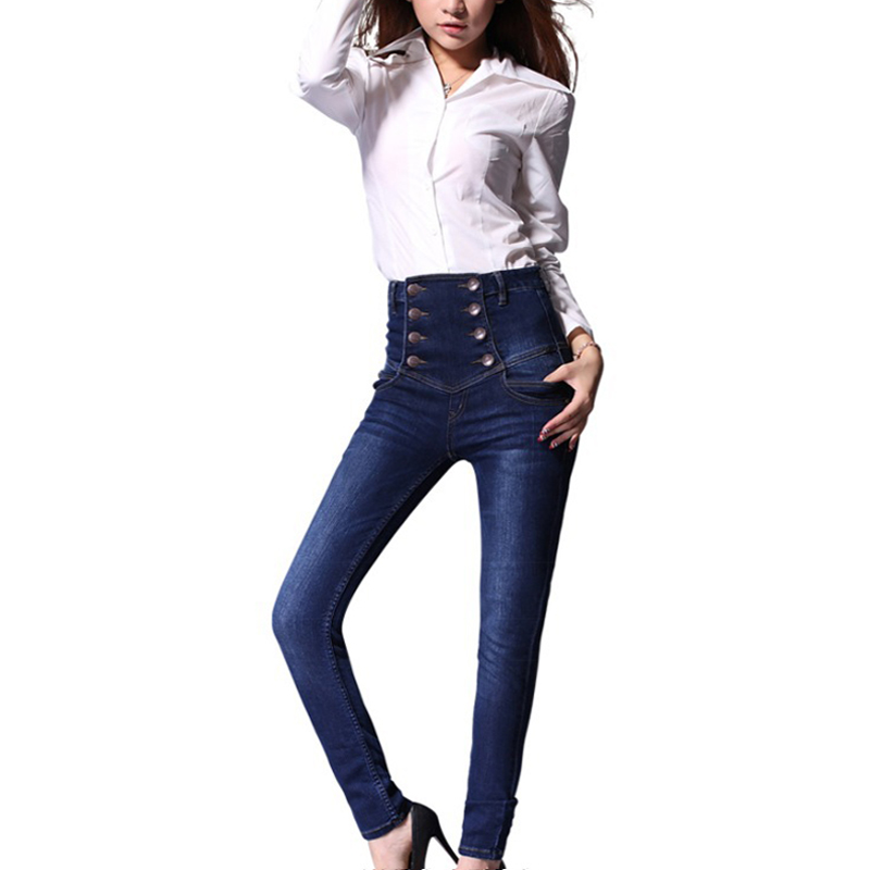 american apparel jeans for women Jeans with high waist pants casual female Blue Denim Pencil Pants