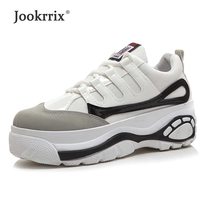 Jookrrix 2018 Summer Fashion Brand Classic White Shoe Women Girl Casual Footware Lady Platform Sneaker Lace Up Female Breathable