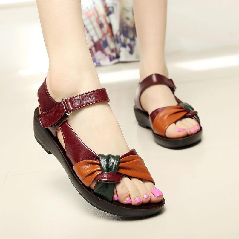ebe783fa18ecaa 2018 summer Mother flat sandals women PU leather Soft bottom flip flops  mixed colors fashion sandals comfortable soft shoes